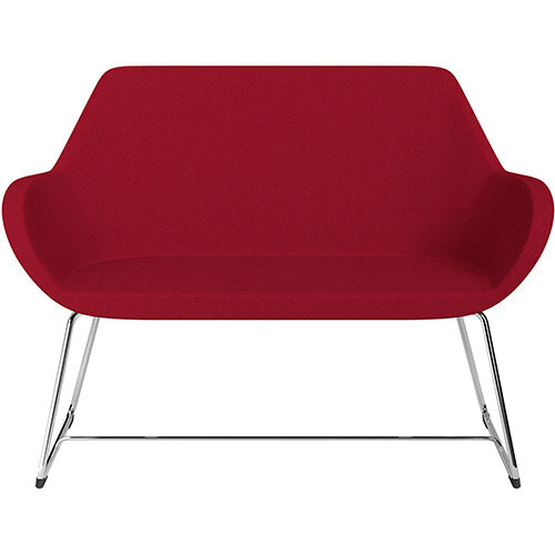 Fan 2 Seater Sofa with Cantilever Legs Red Evo Fabric Seat &Chrome Base with Felt Glides for Hard Floors - Perfect Seating Solution for Breakout &Reception Areas
