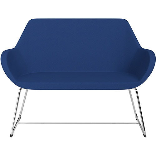 Fan 2 Seater Sofa with Cantilever Legs Blue Evo Fabric Seat &Chrome Base with Felt Glides for Hard Floors - Perfect Seating Solution for Breakout &Reception Areas
