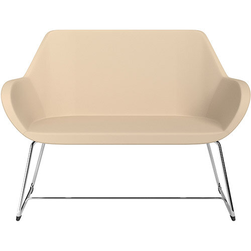 Fan 2 Seater Sofa with Cantilever Legs Beige Softline Leather Look Seat &Chrome Base with Felt Glides for Hard Floors - Perfect Seating Solution for Breakout &Reception Areas