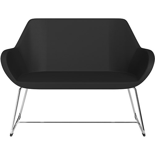 Fan 2 Seater Sofa with Cantilever Legs Black Softline Leather Look Seat &Chrome Base with Felt Glides for Hard Floors - Perfect Seating Solution for Breakout &Reception Areas
