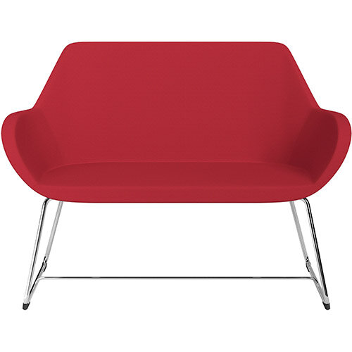 Fan 2 Seater Sofa with Cantilever Legs Vivid Red Sprint Fabric Seat &Chrome Base with Glides for Soft Floors  - Perfect Seating Solution for Breakout &Reception Areas