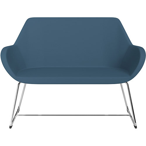 Fan 2 Seater Sofa with Cantilever Legs Aqua Blue Valencia Leather Look Seat &Chrome Base with Felt Glides for Hard Floors - Perfect Seating Solution for Breakout &Reception Areas