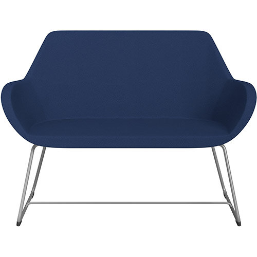 Fan 2 Seater Sofa with Cantilever Legs Navy Evo Fabric Seat &Metallic Silver Base with Felt Glides for Hard Floors - Perfect Seating Solution for Breakout &Reception Areas