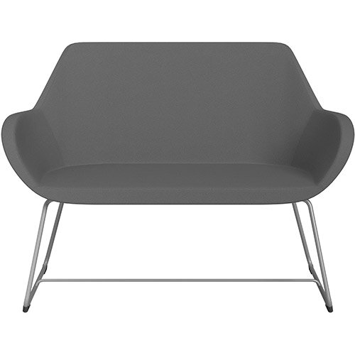 Fan 2 Seater Sofa with Cantilever Legs Grey Evo Fabric Seat &Metallic Silver Base with Felt Glides for Hard Floors - Perfect Seating Solution for Breakout &Reception Areas