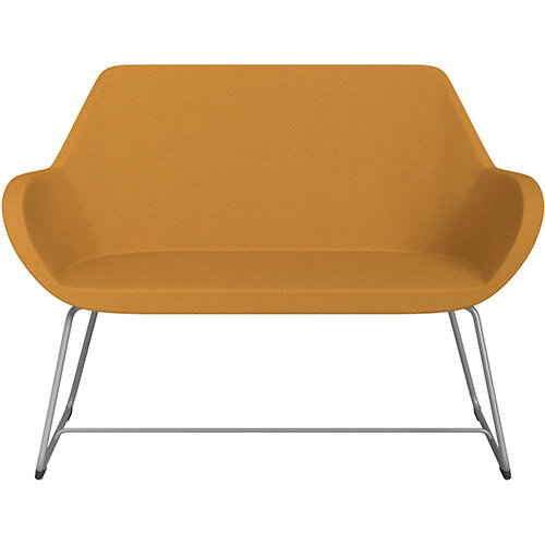 Fan 2 Seater Sofa with Cantilever Legs Yellow Evo Fabric Seat &Metallic Silver Base with Glides for Soft Floors  - Perfect Seating Solution for Breakout &Reception Areas