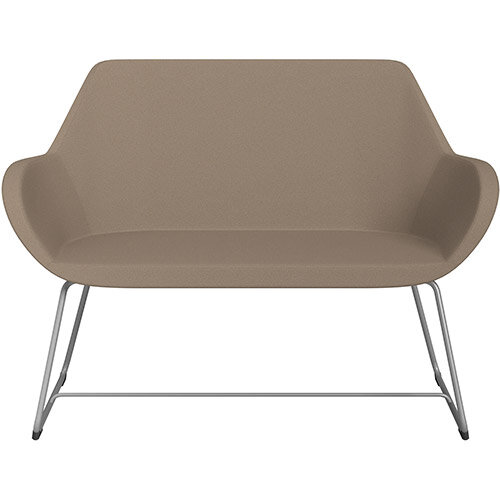 Fan 2 Seater Sofa with Cantilever Legs Beige Evo Fabric Seat &Metallic Silver Base with Glides for Soft Floors  - Perfect Seating Solution for Breakout &Reception Areas