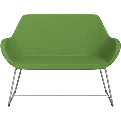 Fan 2 Seater Sofa with Cantilever Legs Green Evo Fabric Seat &Metallic Silver Base with Glides for Soft Floors  - Perfect Seating Solution for Breakout &Reception Areas