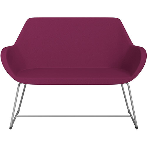 Fan 2 Seater Sofa with Cantilever Legs Pink Evo Fabric Seat &Metallic Silver Base with Glides for Soft Floors  - Perfect Seating Solution for Breakout &Reception Areas