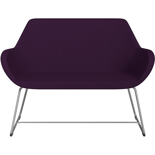 Fan 2 Seater Sofa with Cantilever Legs Purple Evo Fabric Seat &Metallic Silver Base with Glides for Soft Floors  - Perfect Seating Solution for Breakout &Reception Areas