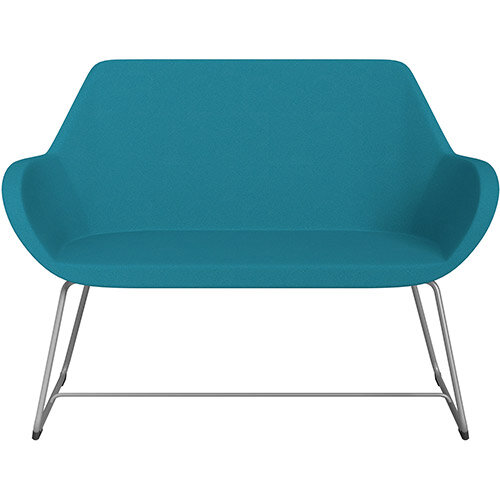 Fan 2 Seater Sofa with Cantilever Legs Aquamarine Evo Fabric Seat &Metallic Silver Base with Glides for Soft Floors  - Perfect Seating Solution for Breakout &Reception Areas