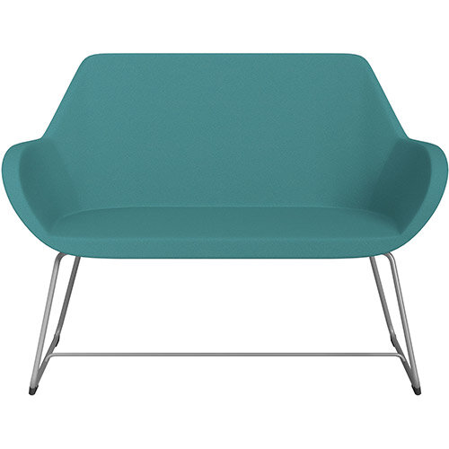 Fan 2 Seater Sofa with Cantilever Legs Aqua Green Evo Fabric Seat &Metallic Silver Base with Glides for Soft Floors - Perfect Seating Solution for Breakout &Reception Areas