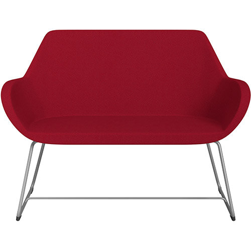 Fan 2 Seater Sofa with Cantilever Legs Red Evo Fabric Seat &Metallic Silver Base with Glides for Soft Floors  - Perfect Seating Solution for Breakout &Reception Areas