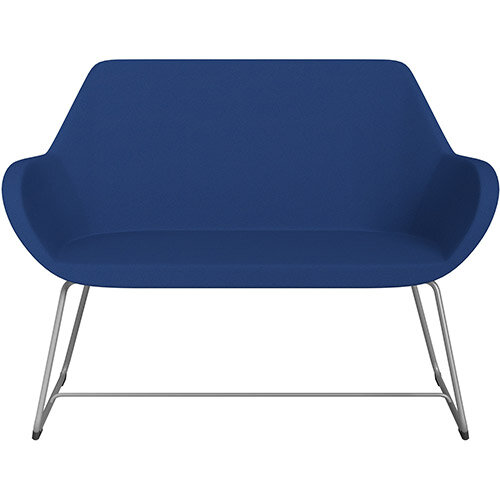 Fan 2 Seater Sofa with Cantilever Legs Blue Evo Fabric Seat &Metallic Silver Base with Glides for Soft Floors  - Perfect Seating Solution for Breakout &Reception Areas