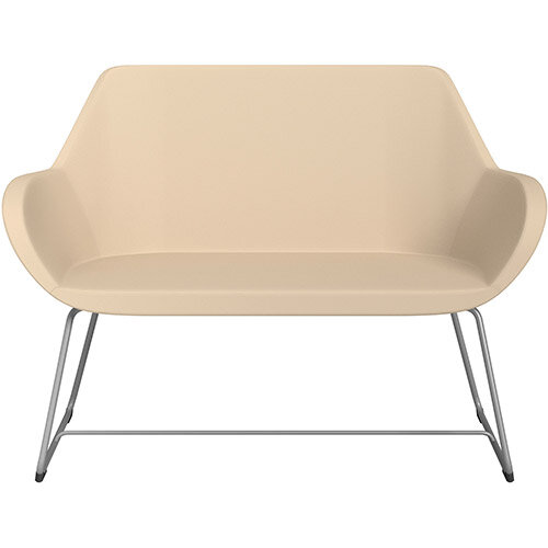 Fan 2 Seater Sofa with Cantilever Legs Beige Softline Leather Look Seat &Metallic Silver Base with Felt Glides for Hard Floors - Perfect Seating Solution for Breakout &Reception Areas