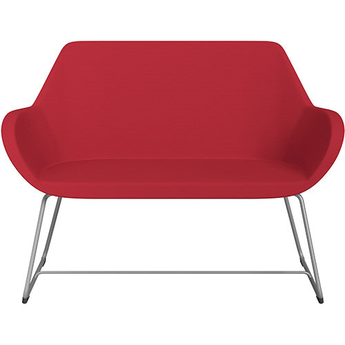 Fan 2 Seater Sofa with Cantilever Legs Vivid Red Sprint Fabric Seat &Metallic Silver Base with Glides for Soft Floors  - Perfect Seating Solution for Breakout &Reception Areas