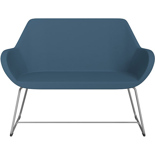 Fan 2 Seater Sofa with Cantilever Legs Aqua Blue Valencia Leather Look Seat &Metallic Silver Base with Glides for Soft Floors  - Perfect Seating Solution for Breakout &Reception Areas