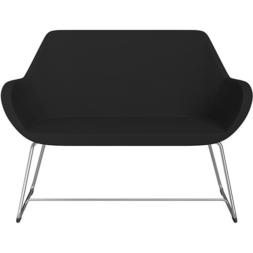 Fan 2 Seater Sofa with Cantilever Legs Black Evo Fabric Seat &Satine Base with Glides for Soft Floors  - Perfect Seating Solution for Breakout &Reception Areas