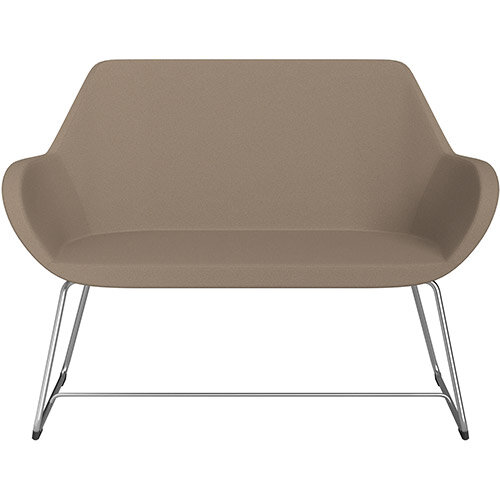 Fan 2 Seater Sofa with Cantilever Legs Beige Evo Fabric Seat &Satine Base with Felt Glides for Hard Floors - Perfect Seating Solution for Breakout &Reception Areas