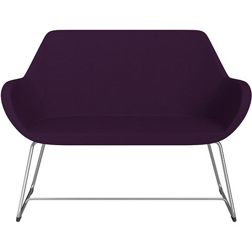 Fan 2 Seater Sofa with Cantilever Legs Purple Evo Fabric Seat &Satine Base with Felt Glides for Hard Floors - Perfect Seating Solution for Breakout &Reception Areas