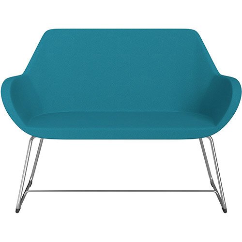 Fan 2 Seater Sofa with Cantilever Legs Aquamarine Evo Fabric Seat &Satine Base with Felt Glides for Hard Floors - Perfect Seating Solution for Breakout &Reception Areas