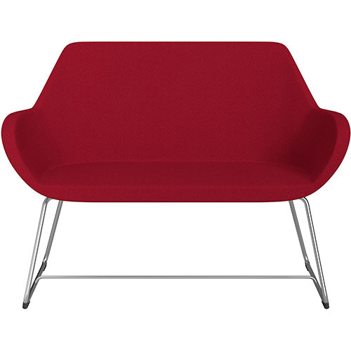 Fan 2 Seater Sofa with Cantilever Legs Red Evo Fabric Seat &Satine Base with Felt Glides for Hard Floors - Perfect Seating Solution for Breakout &Reception Areas