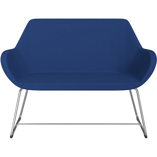 Fan 2 Seater Sofa with Cantilever Legs Blue Evo Fabric Seat &Satine Base with Felt Glides for Hard Floors - Perfect Seating Solution for Breakout &Reception Areas