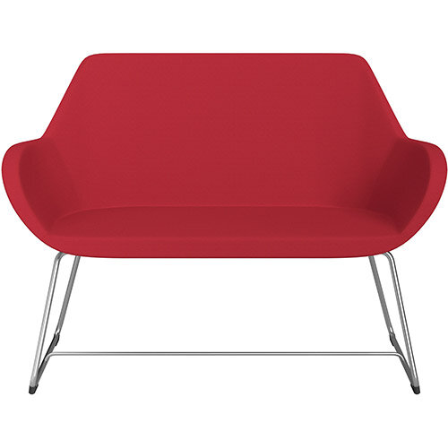 Fan 2 Seater Sofa with Cantilever Legs Vivid Red Sprint Fabric Seat &Satine Base with Glides for Soft Floors  - Perfect Seating Solution for Breakout &Reception Areas