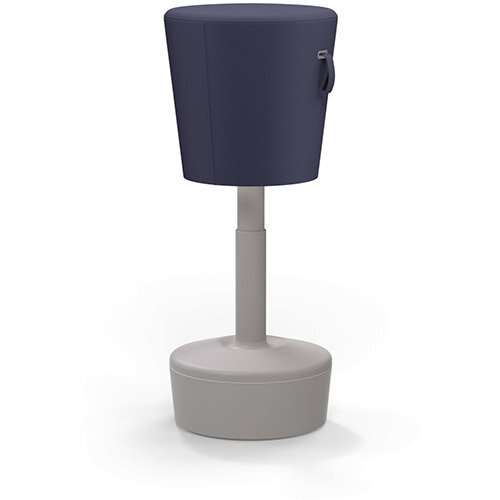 Mickey Ergonomic Height Adjustable Sit Stand Stool - Pouffe with Navy Fabric Seat &Plastic Beige Base &Frame - Seat Adjusts from 570-900m with Swivel &Tilt Function Perfect for use with Sit Stand Desks