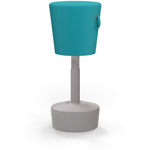 Mickey Ergonomic Height Adjustable Sit Stand Stool - Pouffe with Aquamarine Fabric Seat &Plastic Beige Base &Frame - Seat Adjusts from 570-900m with Swivel &Tilt Function Perfect for use with Sit Stand Desks