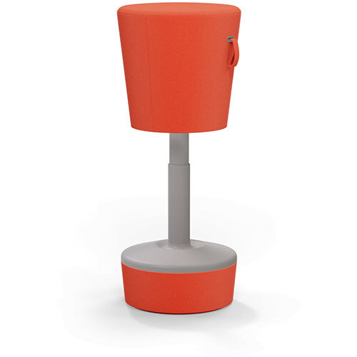 Mickey Ergonomic Height Adjustable Sit Stand Stool - Pouffe with Light Orange Fabric Seat Matching Fabric Base &Plastic Beige Frame - Seat Adjusts from 570-900m with Swivel &Tilt Function Perfect for use with Sit Stand Desks
