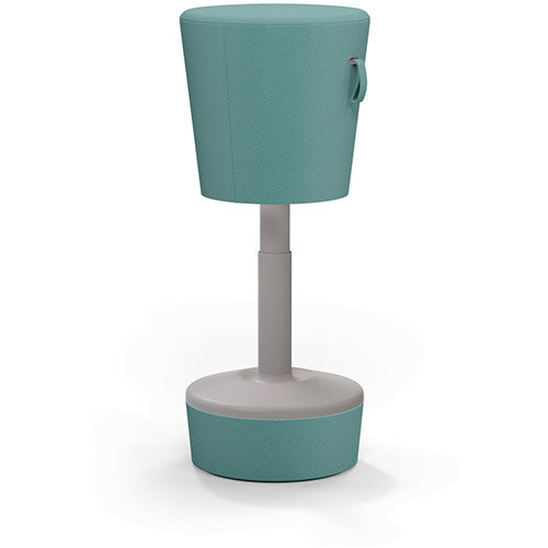 Mickey Ergonomic Height Adjustable Sit Stand Stool - Pouffe with Aqua Green Fabric Seat Matching Fabric Base &Plastic Beige Frame - Seat Adjusts from 570-900m with Swivel &Tilt Function Perfect for use with Sit Stand Desks
