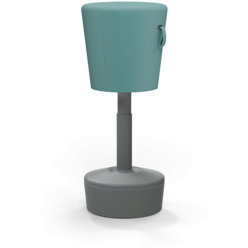 Mickey Ergonomic Height Adjustable Sit Stand Stool - Pouffe with Aqua Green Fabric Seat & Plastic Grey Base & Frame - Seat Adjusts from 570-900m with Swivel & Tilt Function Perfect for use with Sit Stand Desks