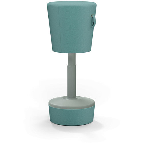 Mickey Ergonomic Height Adjustable Sit Stand Stool - Pouffe with Aqua Green Fabric Seat Matching Fabric Base &Plastic Grey Frame - Seat Adjusts from 570-900m with Swivel &Tilt Function Perfect for use with Sit Stand Desks