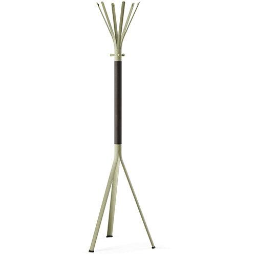 NINE Beige Green Coat Stand with Matching Hooks &Dark Brown H11 Wooden Column