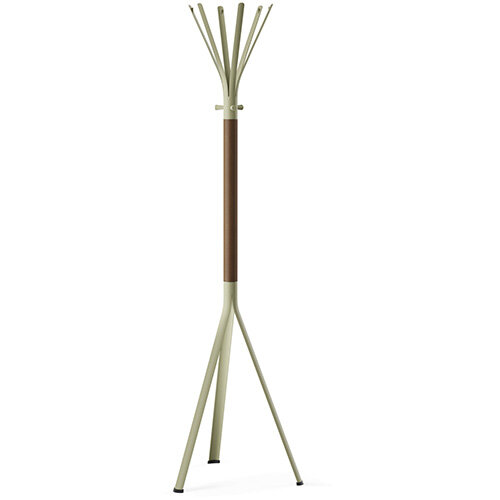 NINE Beige Green Coat Stand with Matching Hooks &Brown H12 Wooden Column