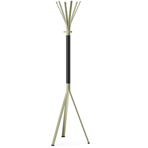 NINE Beige Green Coat Stand with Matching Hooks &Black H5 Wooden Column