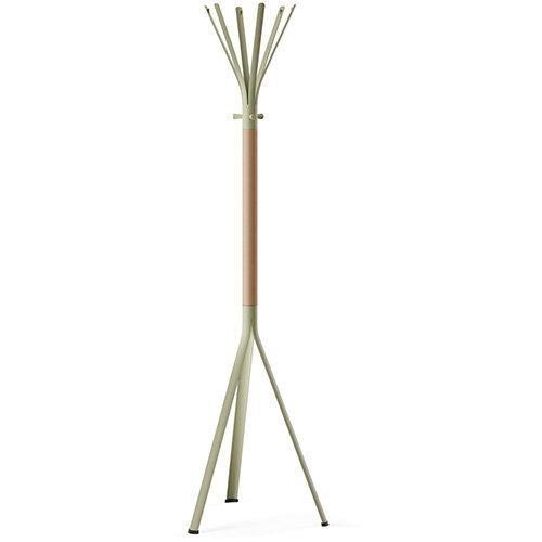 NINE Beige Green Coat Stand with Matching Hooks &Light H6 Beech Wooden Column