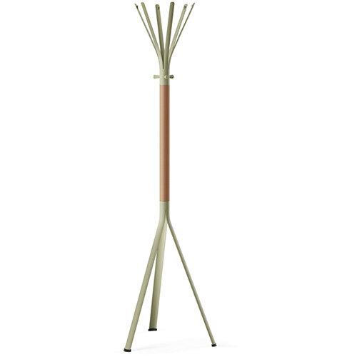 NINE Beige Green Coat Stand with Matching Hooks &Natural H7 Beech Wooden Column