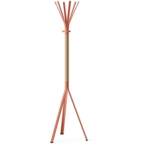 NINE Orange Coat Stand with Matching Hooks &Light H6 Beech Wooden Column