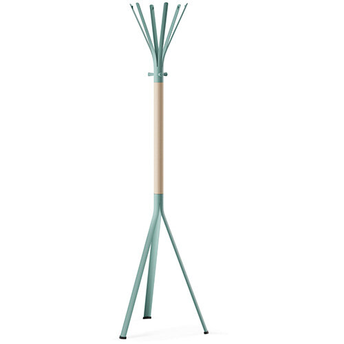 NINE Turquoise Coat Stand with Matching Hooks &Bleached H8 Beech Wooden Column