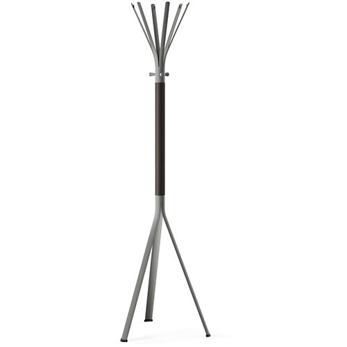 NINE Grey Coat Stand with Matching Hooks &Dark Brown H11 Wooden Column