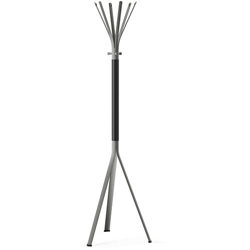 NINE Grey Coat Stand with Matching Hooks &Black H5 Wooden Column