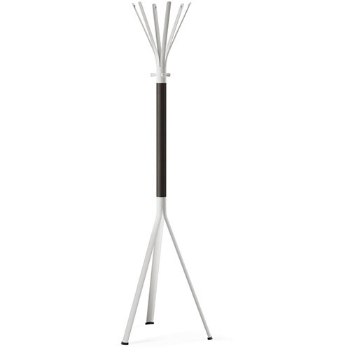 NINE White Coat Stand with Matching Hooks &Dark Brown H11 Wooden Column