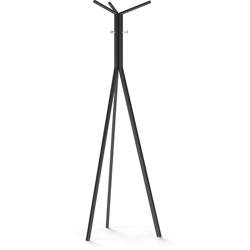 SEVEN Black Coat Stand with Chrome Hooks