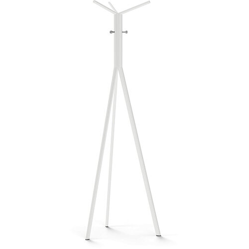 SEVEN White Coat Stand with Metallic Silver Hooks