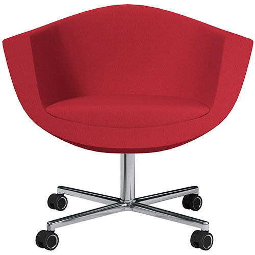 Sorriso Armchair with 4 Star Base Vivid Red Sprint Fabric Seat &Chrome Base with Standard Decorative Castors - Perfect Seating Solution for Breakout, Reception Areas &Boardroom
