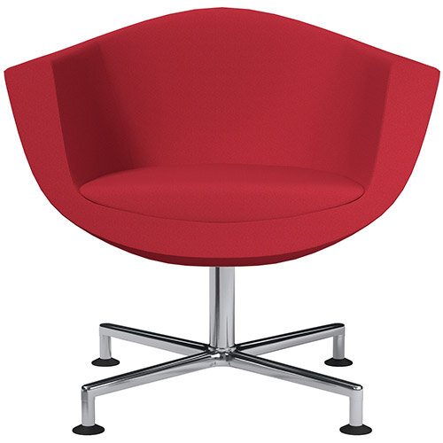 Sorriso Armchair with 4 Star Base Vivid Red Sprint Fabric Seat &Chrome Base with Decorative Glides for Soft Floors - Perfect Seating Solution for Breakout, Reception Areas &Boardroom