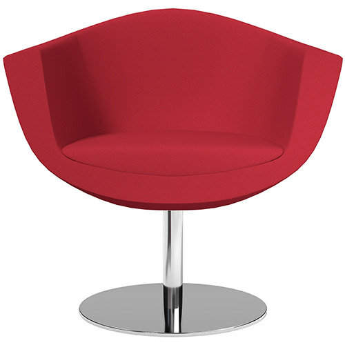 Sorriso Armchair with Round Base Vivid Red Sprint Fabric Seat &Chrome Base with Felt Pads for Hard Floors - Perfect Seating Solution for Breakout, Reception Areas &Boardroom