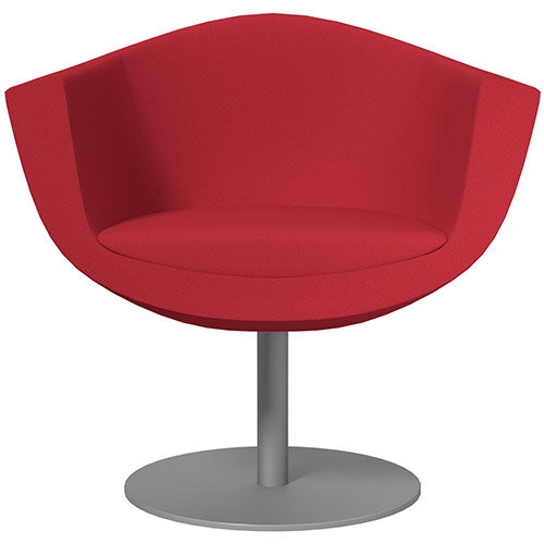 Sorriso Armchair with Round Base Vivid Red Sprint Fabric Seat &Metallic Silver Base with Felt Pads for Hard Floors - Perfect Seating Solution for Breakout, Reception Areas &Boardroom