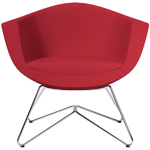 Sorriso Armchair with Wire Frame Vivid Red Sprint Fabric Seat &Chrome Base with Universal Teflon Glides - Perfect Seating Solution for Breakout, Reception Areas &Boardroom